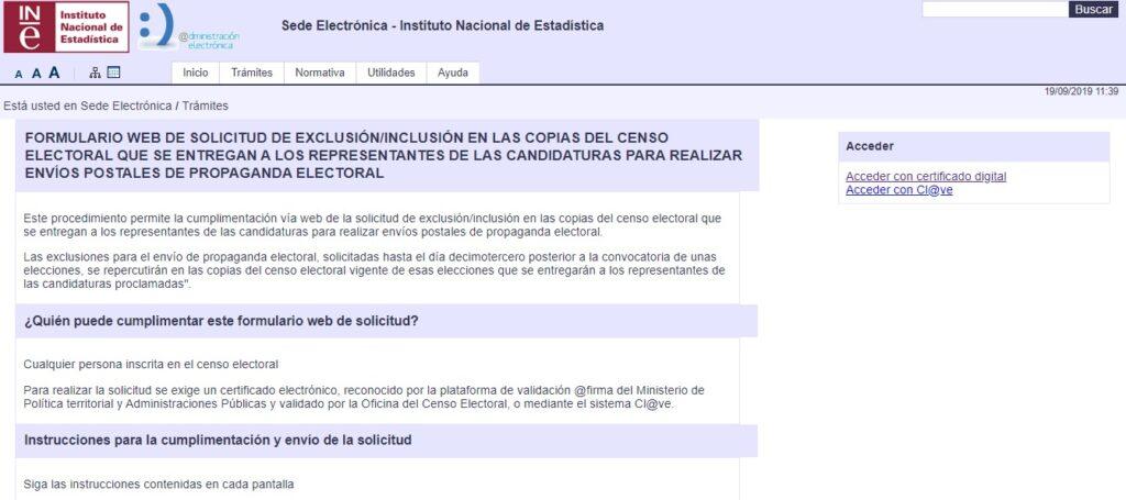 Pantalla de inicio del Instituto Nacional de Estadística.